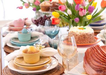 Ostergedeck auf Tisch